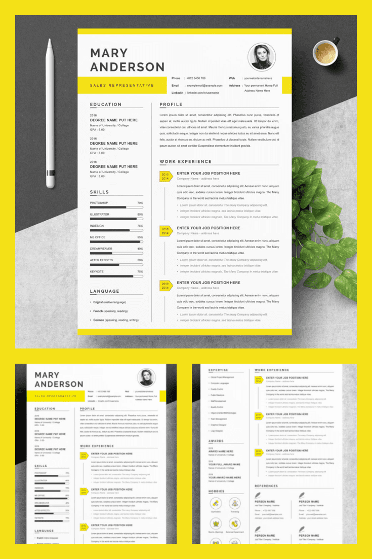 Resume Template/CV Design Pattern - MasterBundles - Pinterest Collage Image.