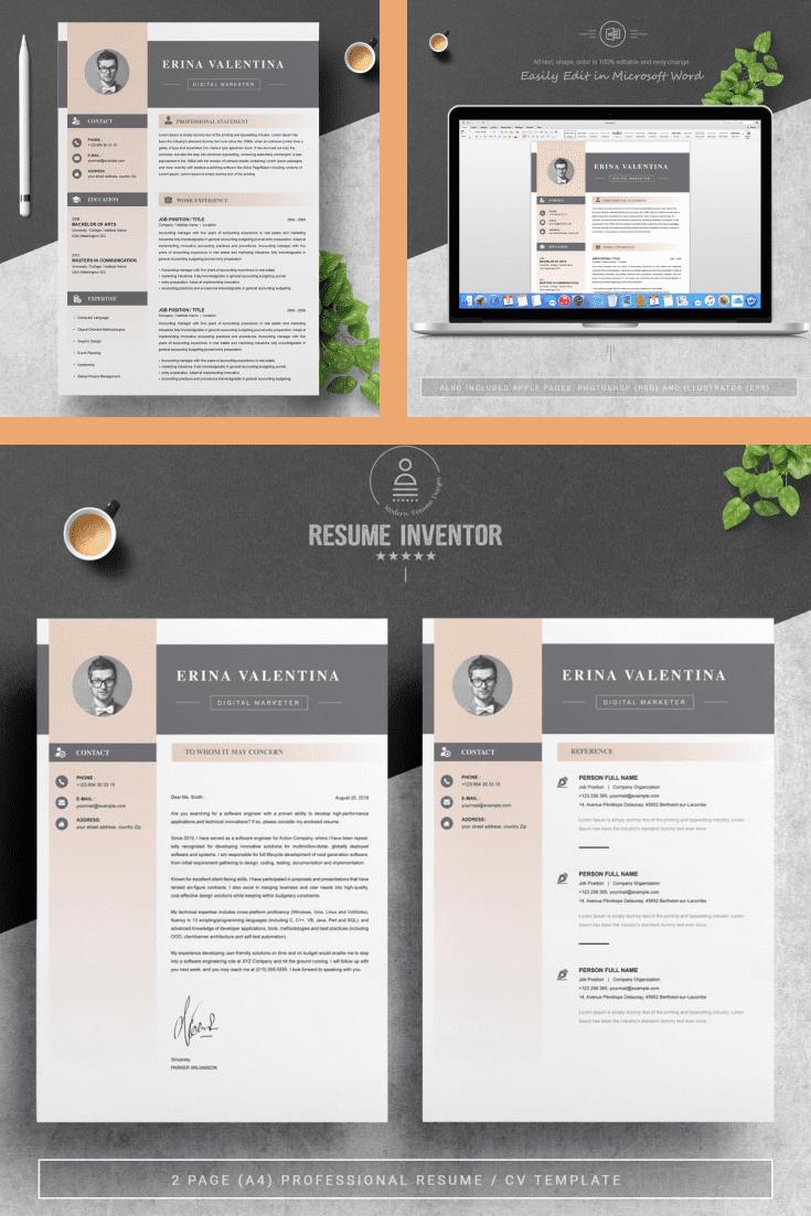 One Page Resume Template - MasterBundles - Pinterest Collage Image.