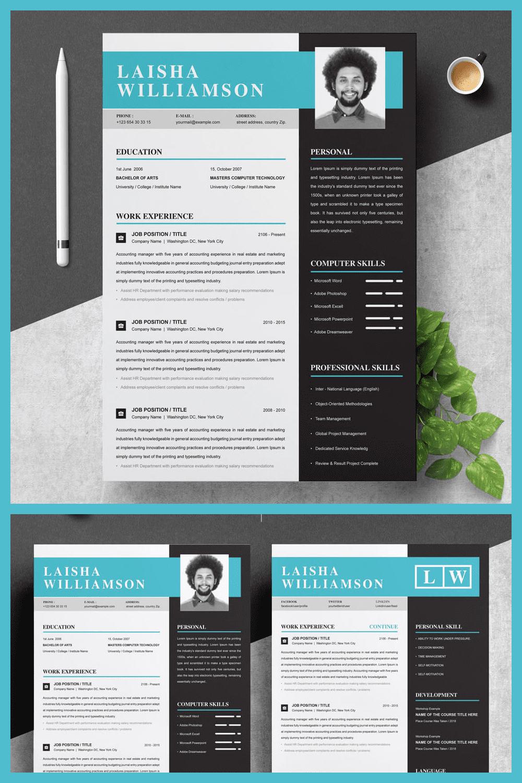 Resume Template & Cover Letter Template - MasterBundles - Pinterest Collage Image.