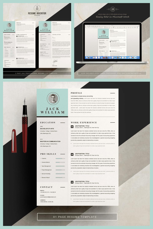Resume Word Template - MasterBundles - Pinterest Collage Image.