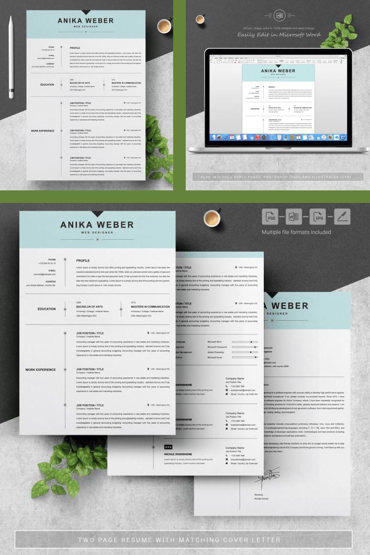 Functional Resume Design Template - MasterBundles - Pinterest Collage Image.