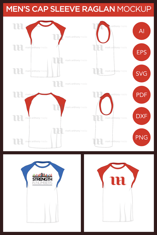 Raglan Men's Cap Sleeve/Sleeveless Shirt - Vector Mockup Template - MasterBundles - Pinterest Collage Image.