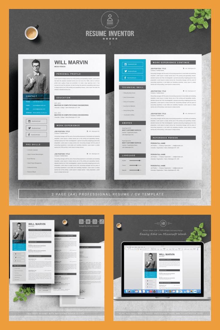 Simple Resume Design Template For Students - MasterBundles - Pinterest Collage Image.