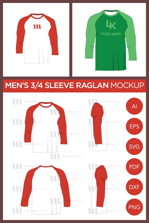 Raglan Men's 3/4 Sleeve Shirt - Vector Mockup Template - MasterBundles - Pinterest Collage Image.
