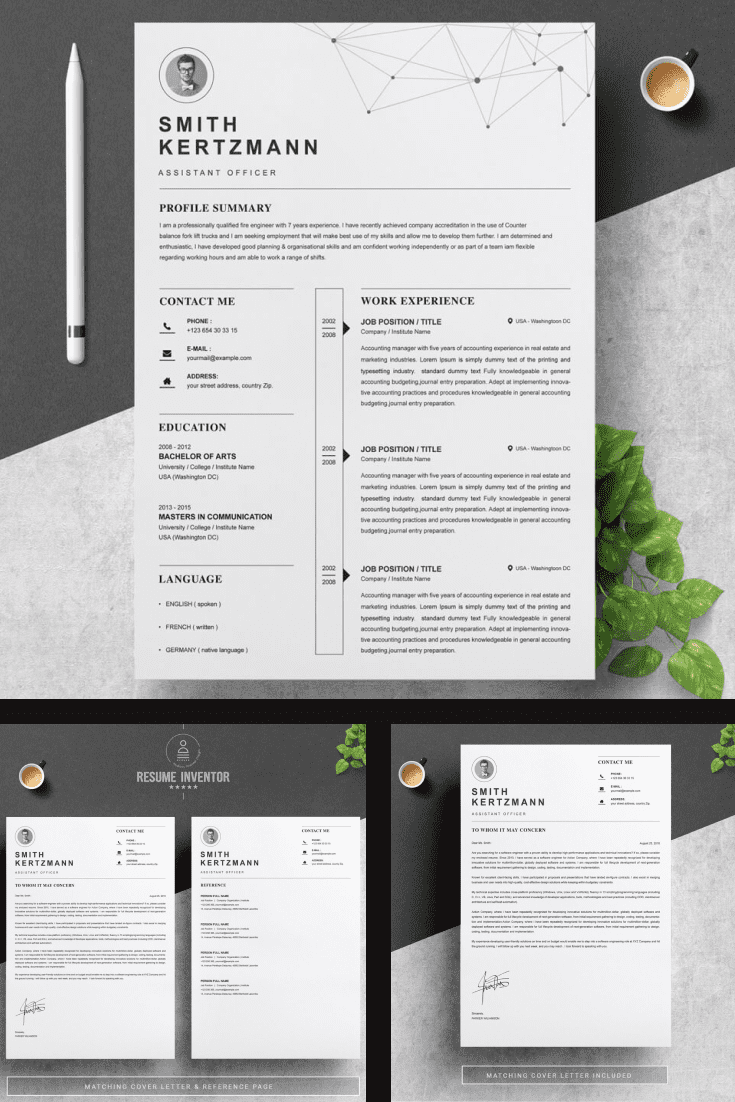 Modern Resume Design Template - MasterBundles - Pinterest Collage Image.