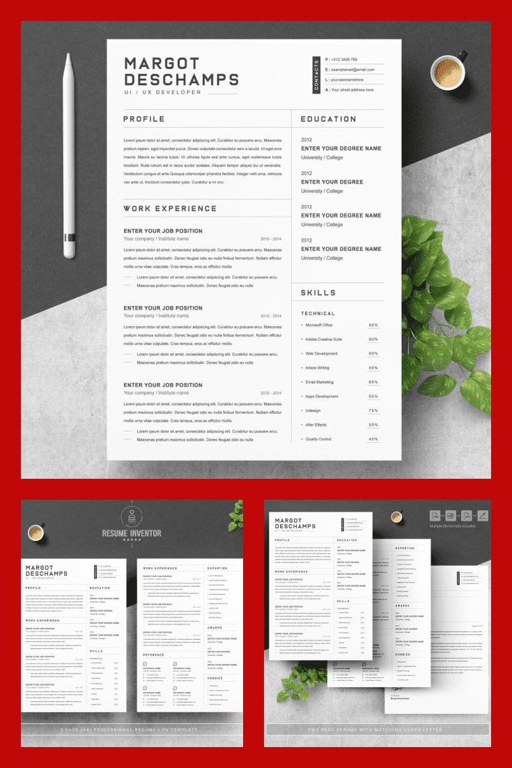 Resume Word/CV Word Design Template - MasterBundles - Pinterest Collage Image.