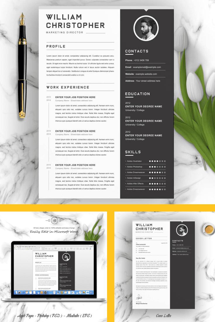 Resume Cover Letter Design - MasterBundles - Pinterest Collage Image.