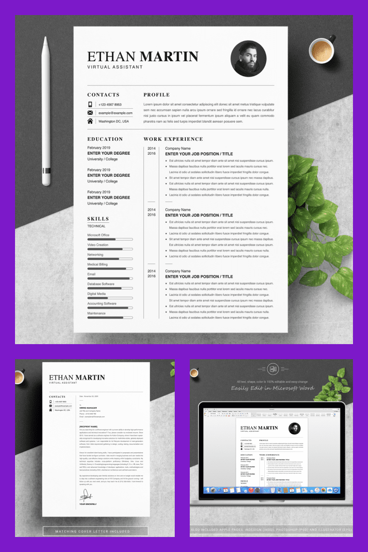 Virtual Assistant Resume Template - MasterBundles - Pinterest Collage Image.