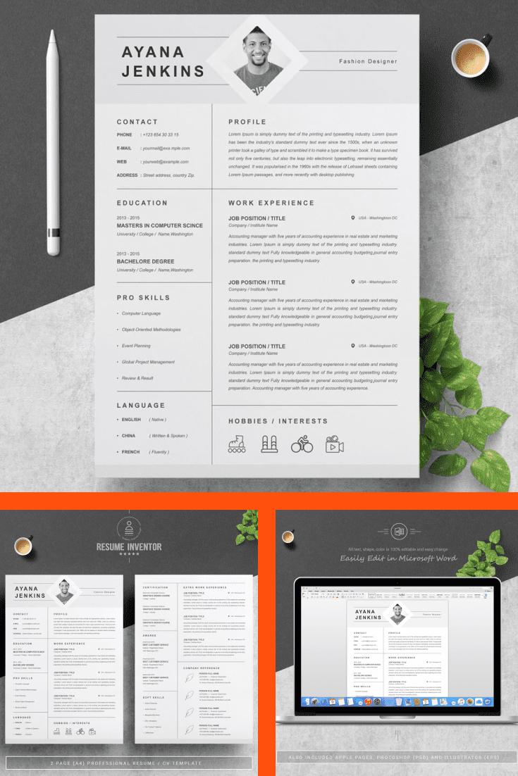 CV and Cover Letter Design Template - MasterBundles - Pinterest Collage Image.