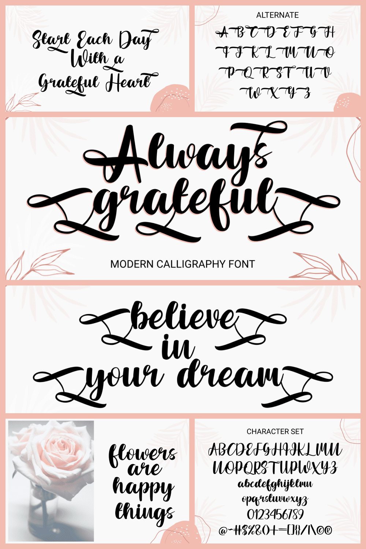 Always Grateful Wedding Calligraphy Font - MasterBundles - Pinterest Collage Image.