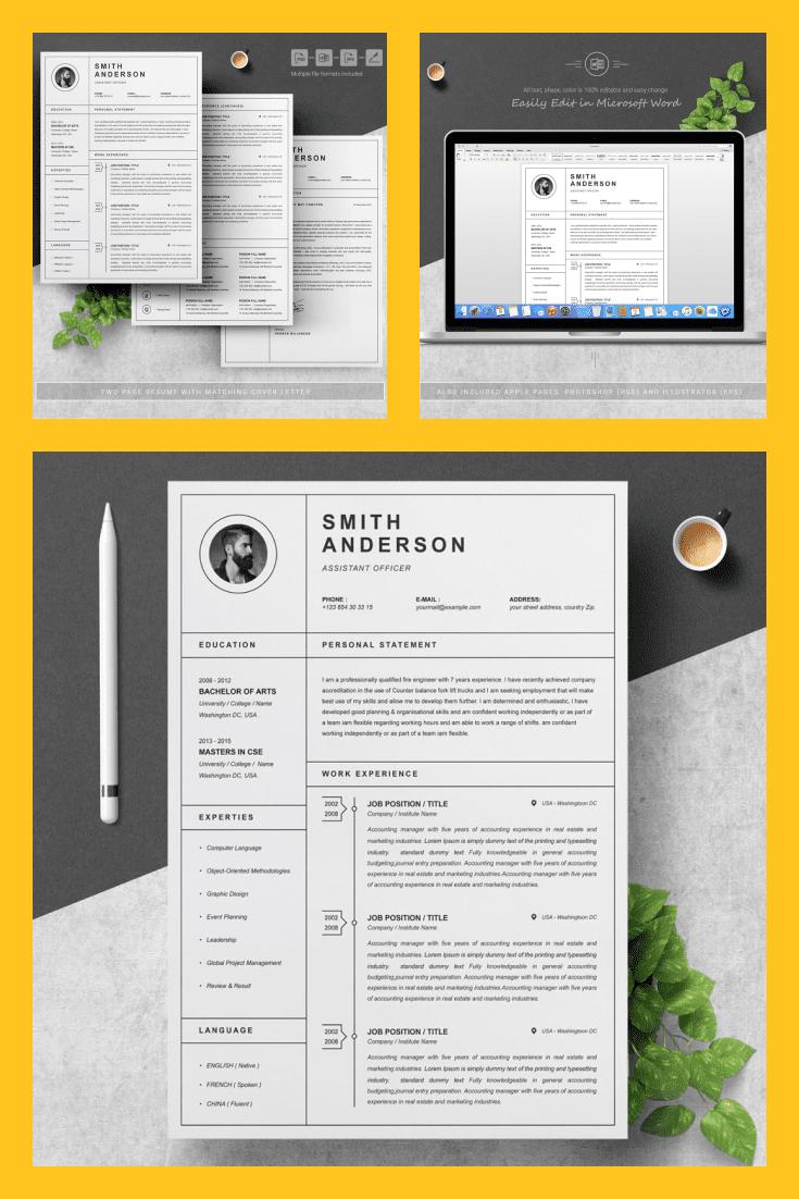 Simple Resume Template Design - MasterBundles - Pinterest Collage Image.
