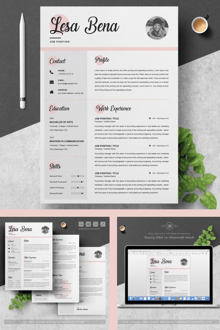 Curriculum Vitae [CV] Template - MasterBundles - Pinterest Collage Image.
