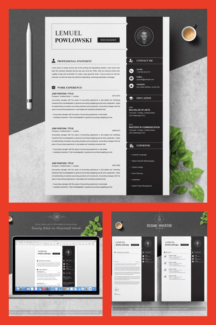 Professional Resume Template Design - MasterBundles - Pinterest Collage Image.