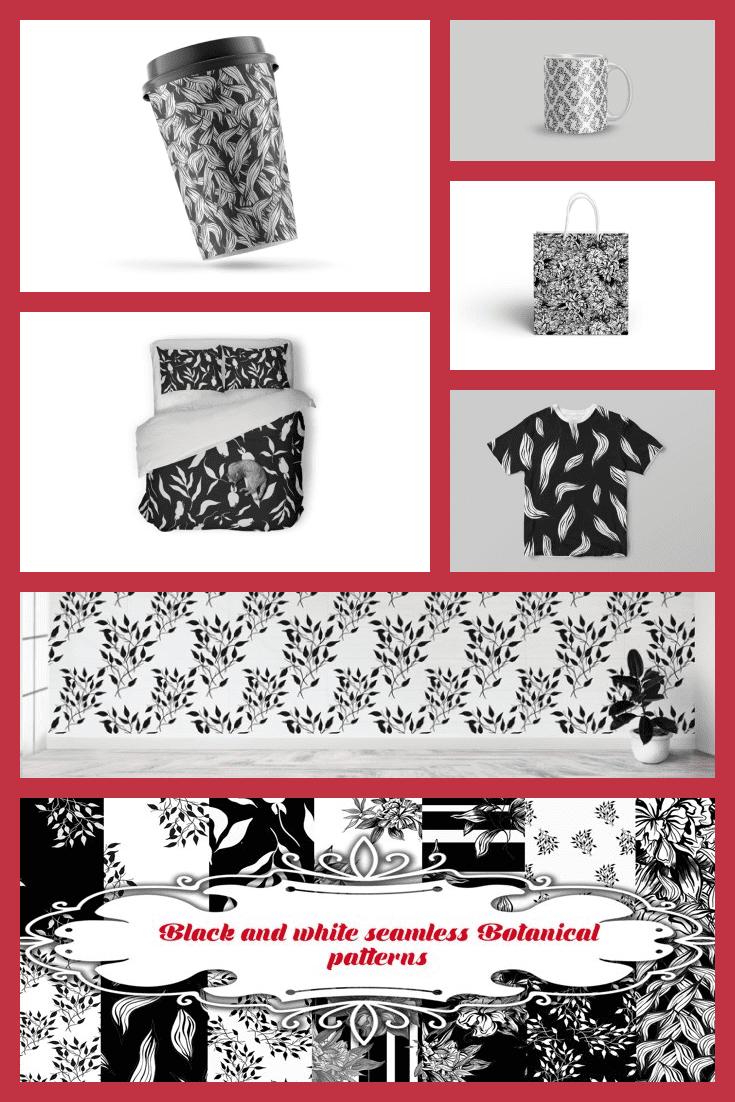Black and White Seamless Botanical Patterns - MasterBundles - Pinterest Collage Image.