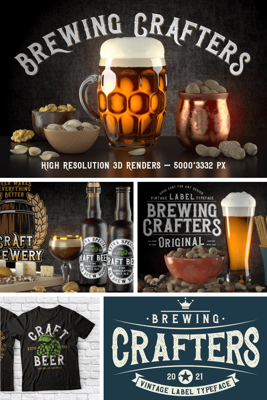 Beer Font: Brewing Crafters Vintage Font - MasterBundles - Pinterest Collage Image.
