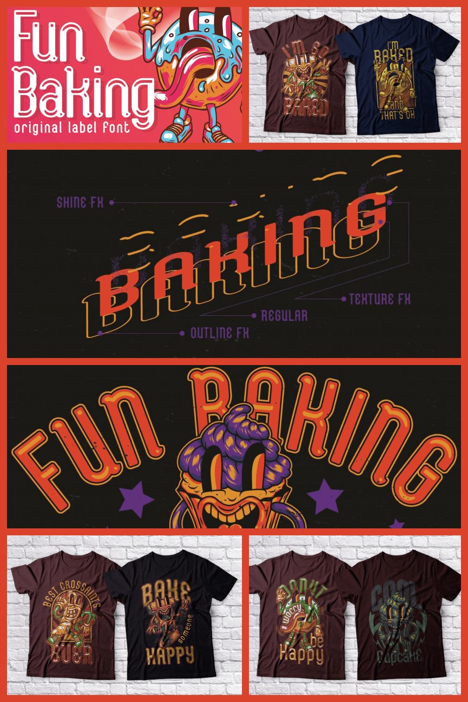 Fun Baking Font OTF & TTF - MasterBundles - Pinterest Collage Image.