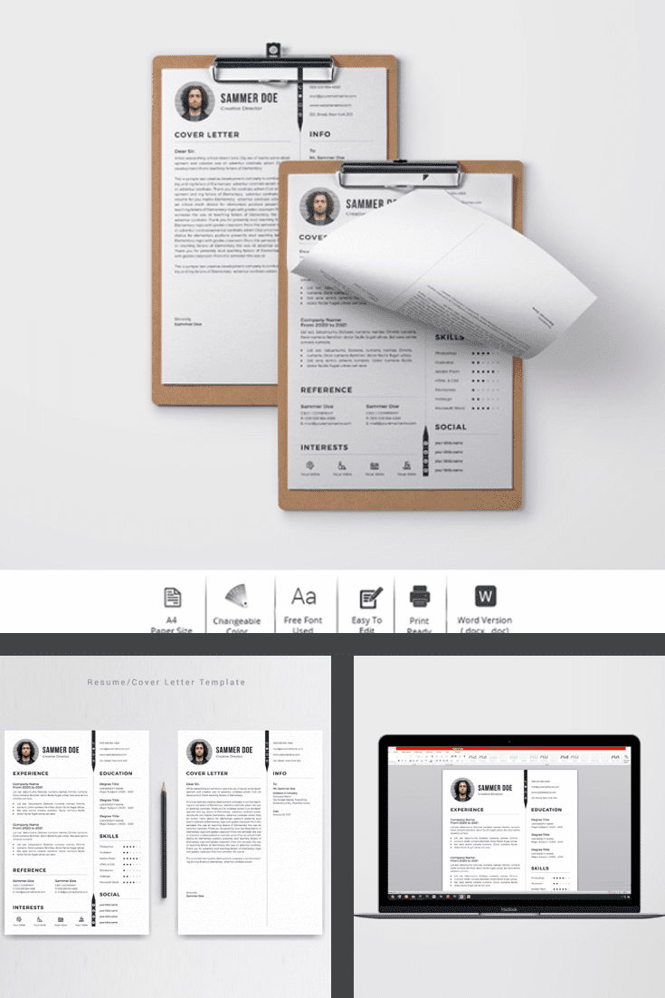 Medical Student CV Template Resume - MasterBundles - Pinterest Collage Image.