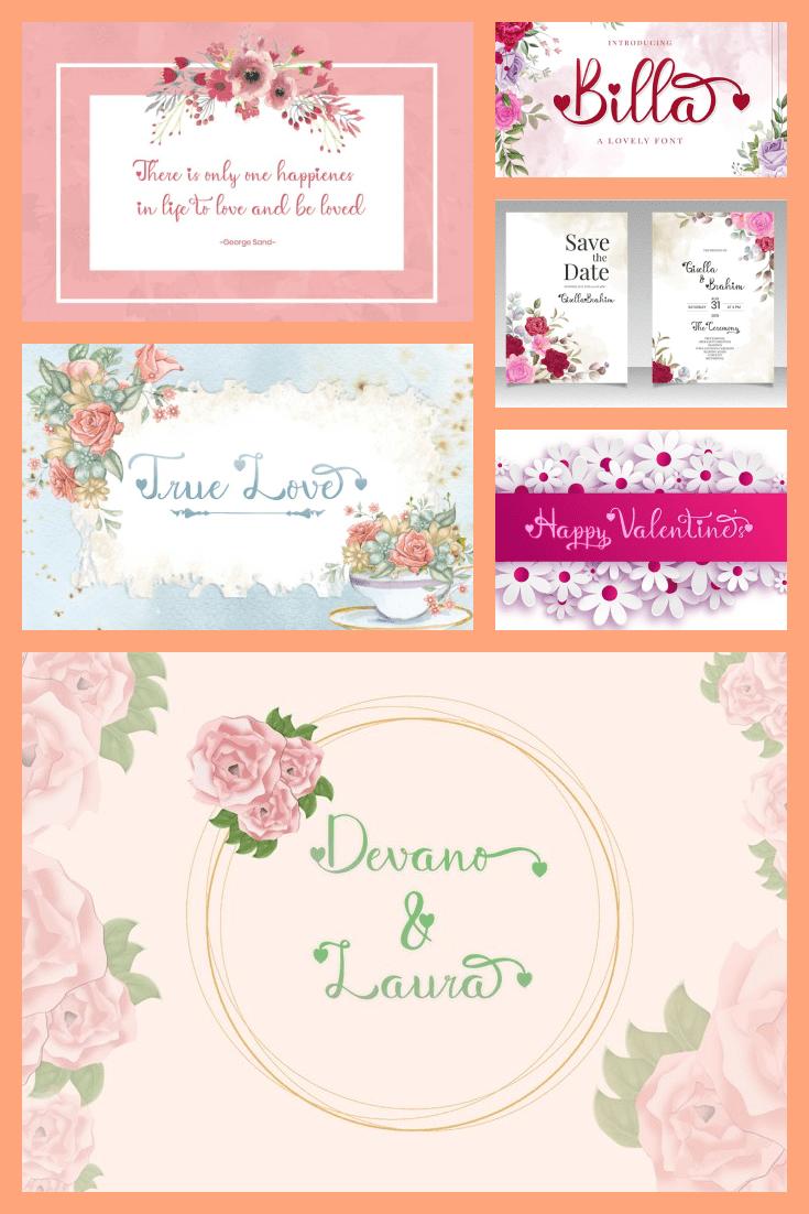 Billa Lovely Home Font - MasterBundles - Pinterest Collage Image.
