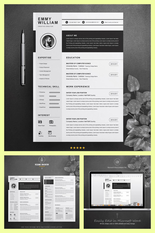 Creative Resume Design - MasterBundles - Pinterest Collage Image.