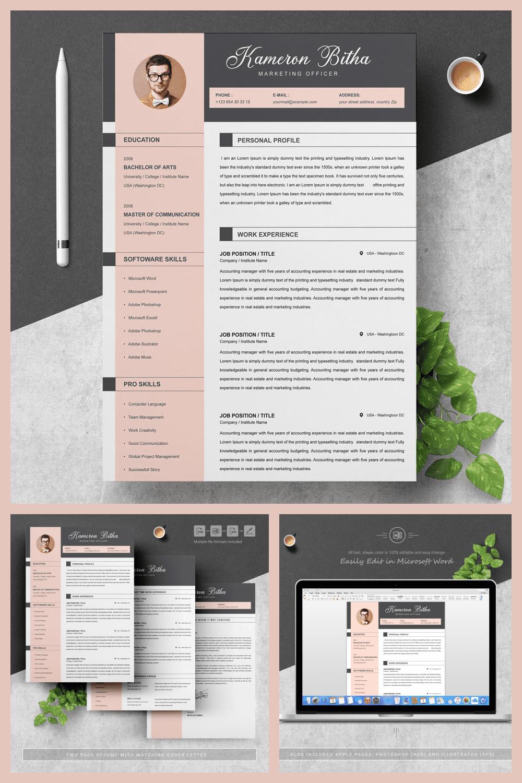 Resume Word Design - MasterBundles - Pinterest Collage Image.