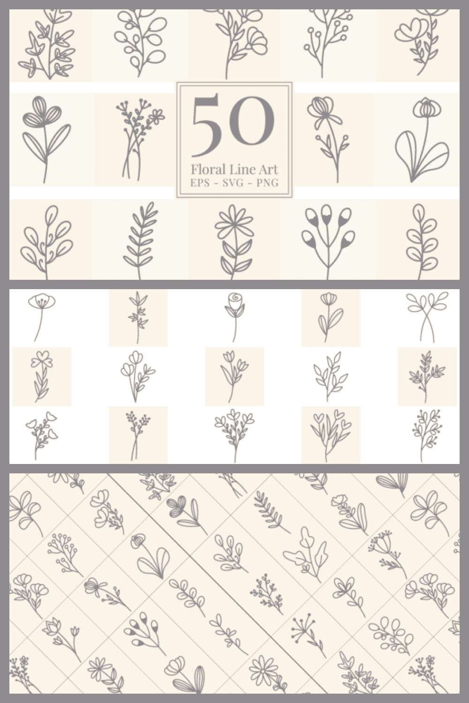 Floral Line Art illustration Bundle - MasterBundles - Pinterest Collage Image.