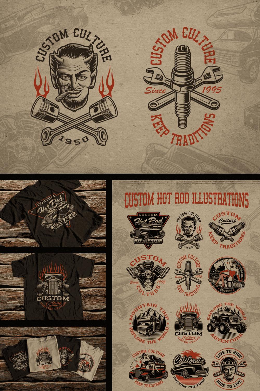 Vintage Transport T-Shirts: Set of Vintage Transport Illustrations - MasterBundles - Pinterest Collage Image.