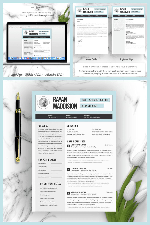 CV Template - MasterBundles - Pinterest Collage Image.