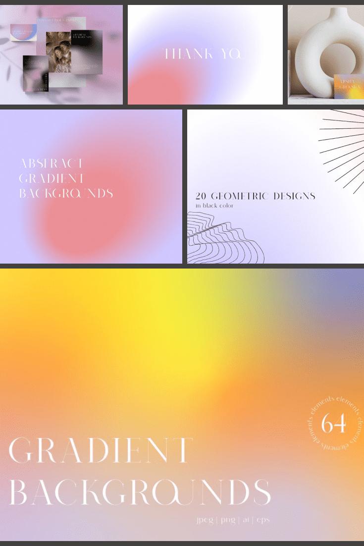 Gradient Textures & Geometry - MasterBundles - Pinterest Collage Image.