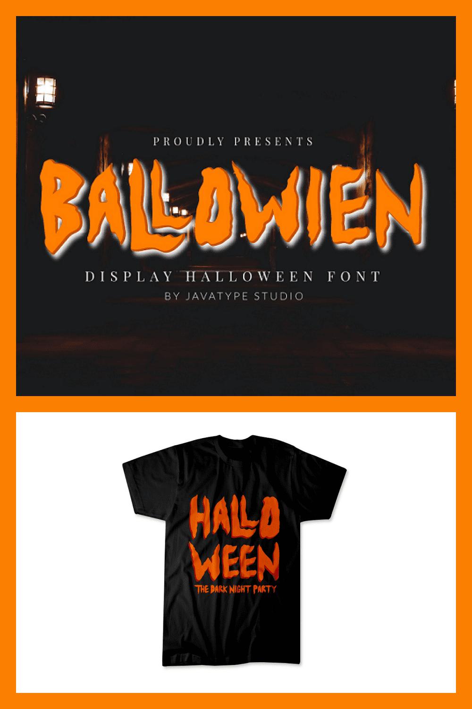 Ballowien - Halloween Font - MasterBundles - Pinterest Collage Image.
