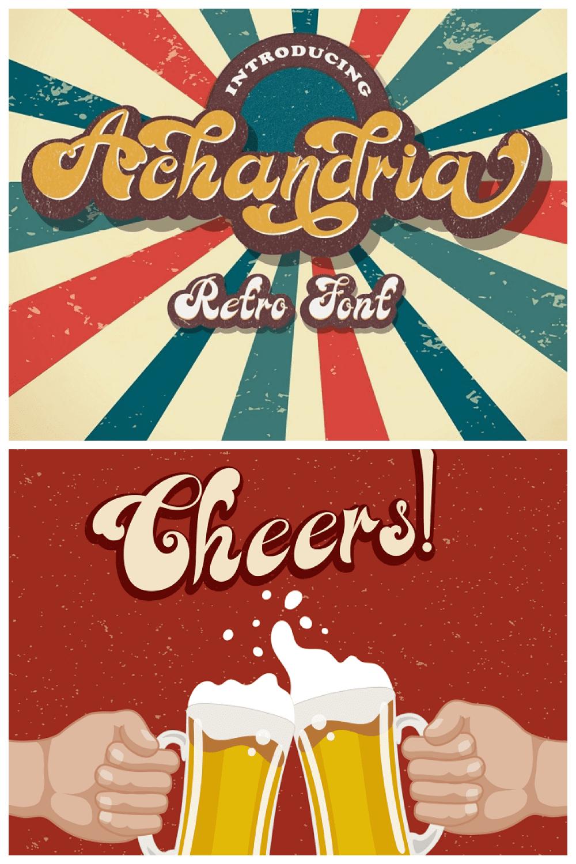 Achandria - Retro Display Font - MasterBundles - Pinterest Collage Image.