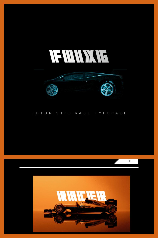 Font in futuristic style.