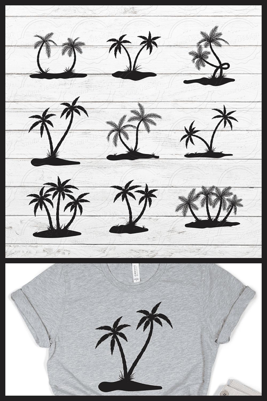 Palm Tree Clipart Bundle SVG - MasterBundles - Pinterest Collage Image.