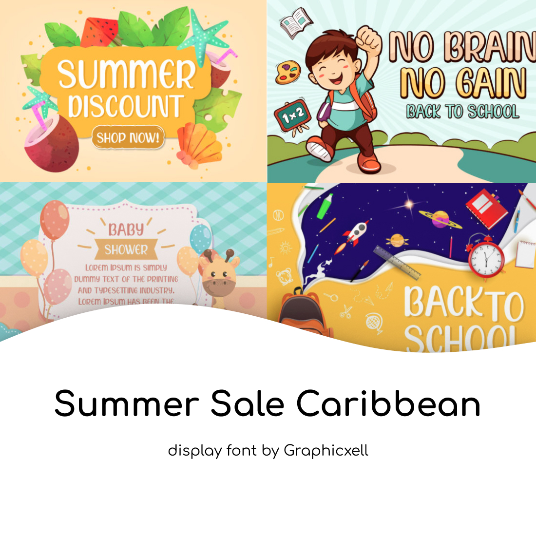 Collage Summer Sale Caribbean Font cover image.