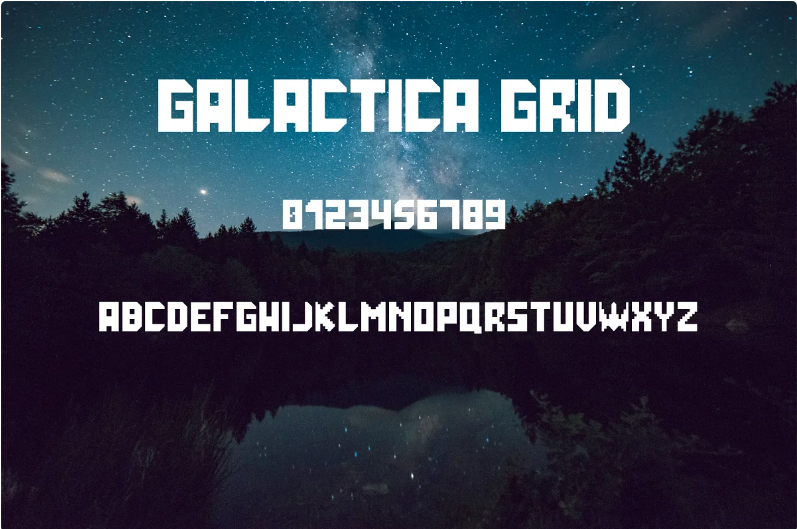 Galactica grid - general view of font.