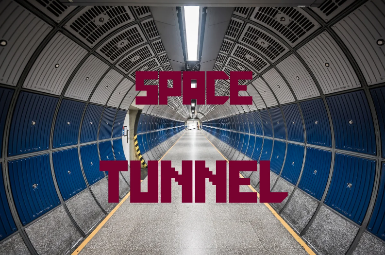 Space tunnel font style.