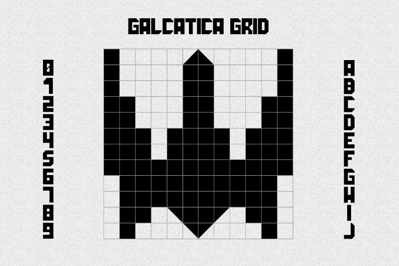 Galactica grid font.