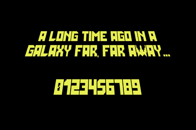 Black background and yellow font.