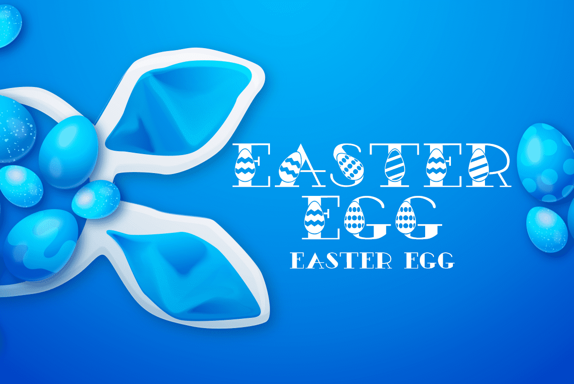 Creative original font with eggs for Easter.
