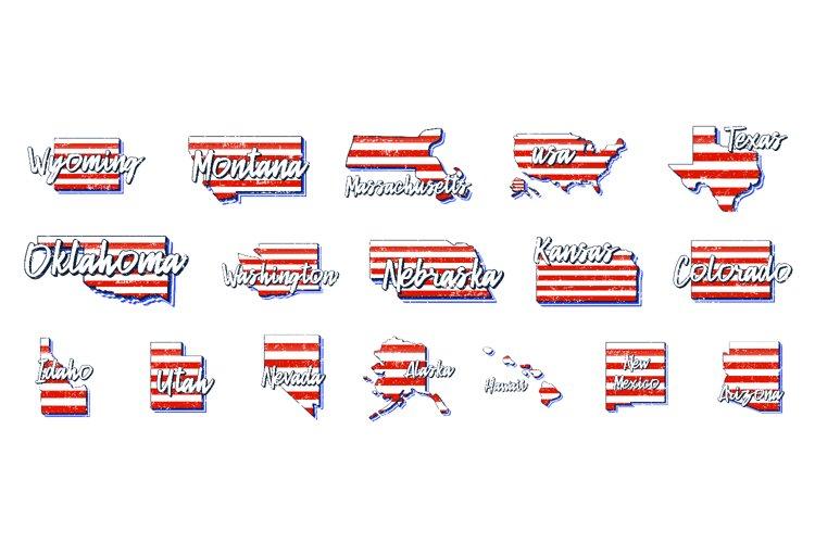 Set of US 50 grunge states map1