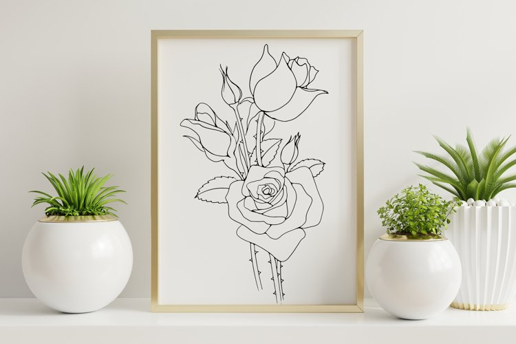 A bouquet of roses on the poster.