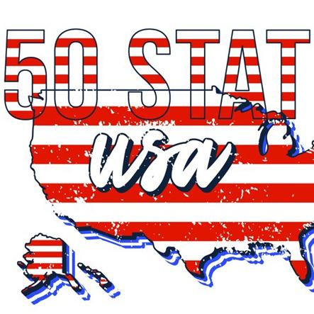 Set of US 50 Grunge States Map