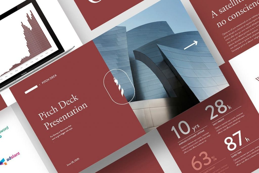 Professional Red Pitch Deck Powerpoint Presentation Template.