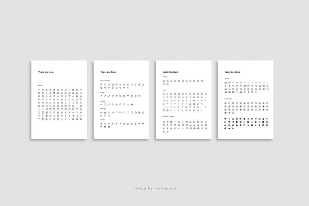 Powerpoint Vertical Template Vector Icons.