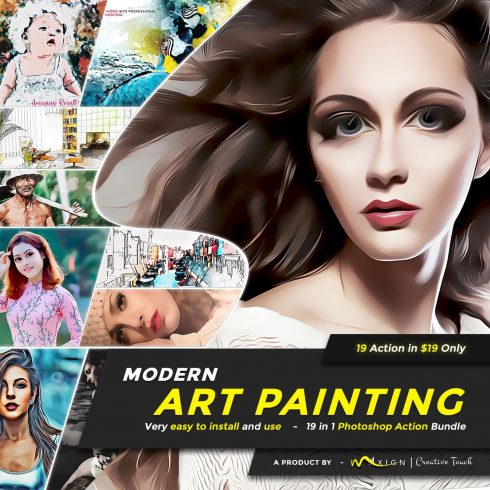 Modern Art Painting - 19 in 1 Photoshop Action Bundle.