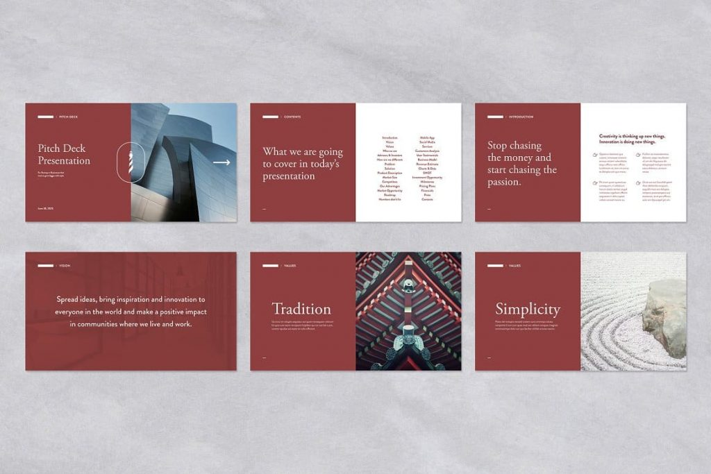 Red Pitch Deck Powerpoint Presentation Template.