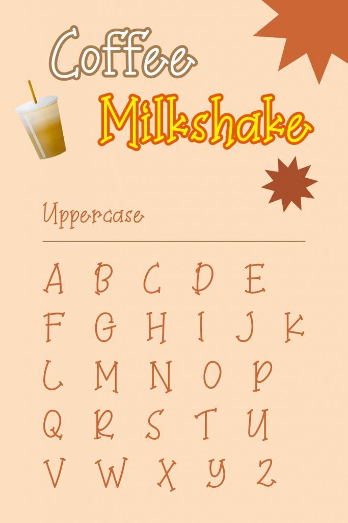 Pinterest Uppercase alphabet example for Coffee Milkshake font free by MasterBundles.