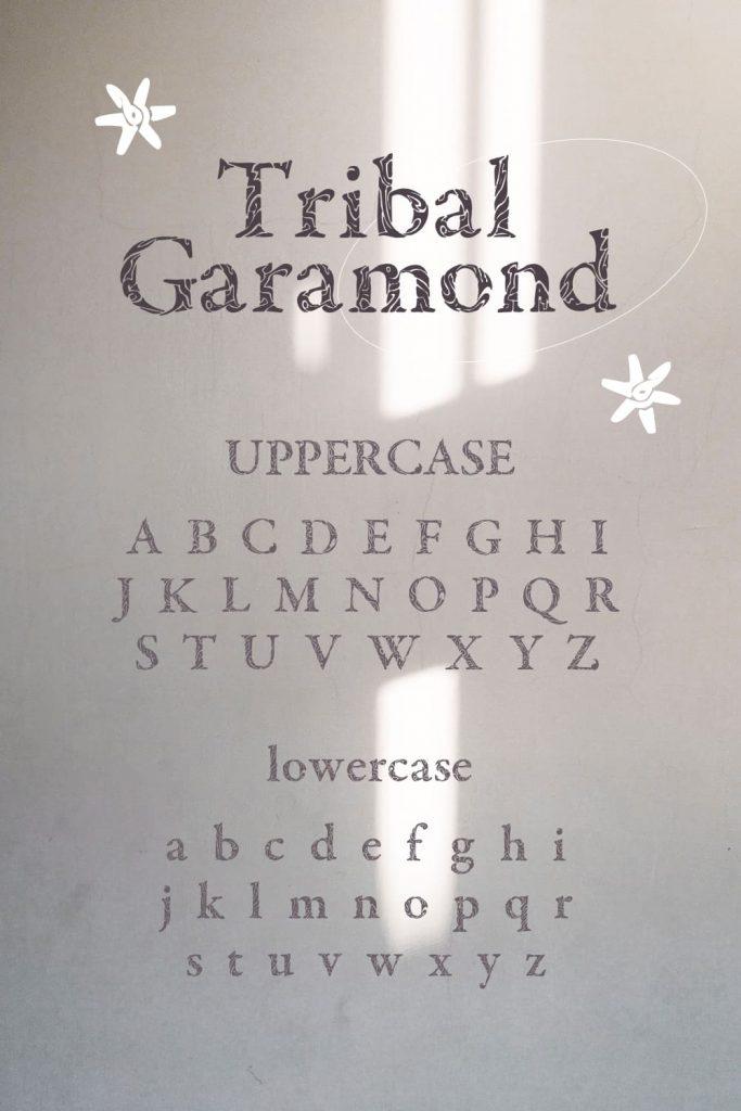 Alphabet preview image for Pinterest Cool garamond font free by MasterBundles.