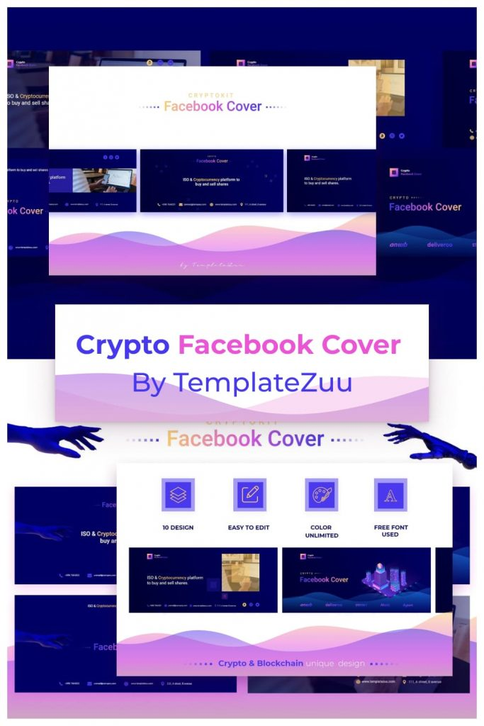 Crypto Facebook Cover by MasterBundles Pinterest Collage Image.