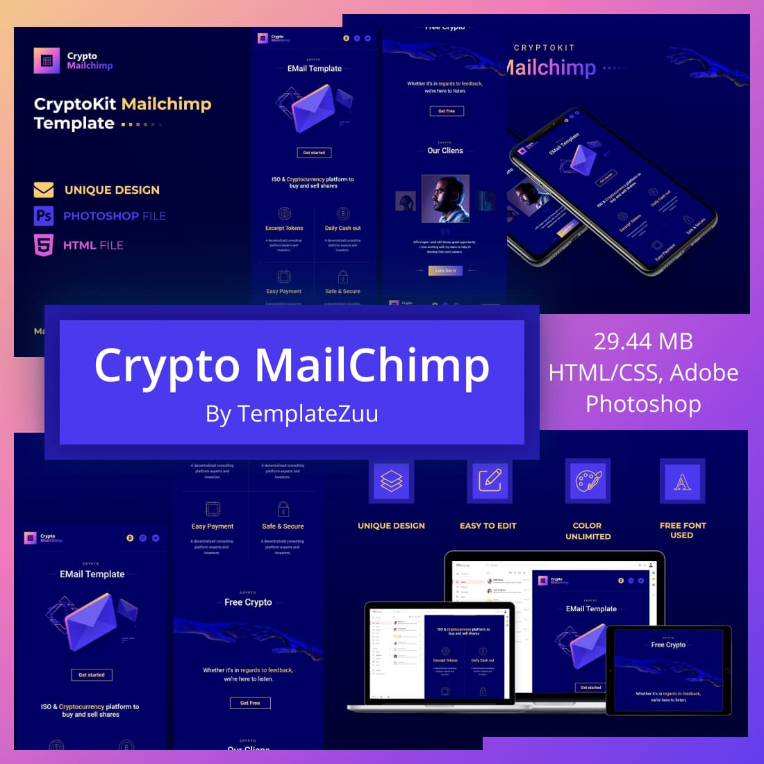 Crypto MailChimp by MasterBundles.