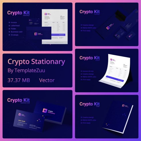 Crypto Stationary by MasterBundles.